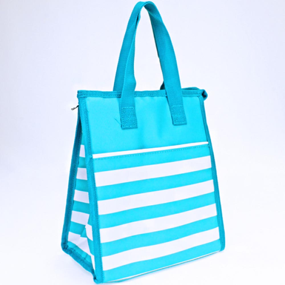 stripe turquoise lunch bag