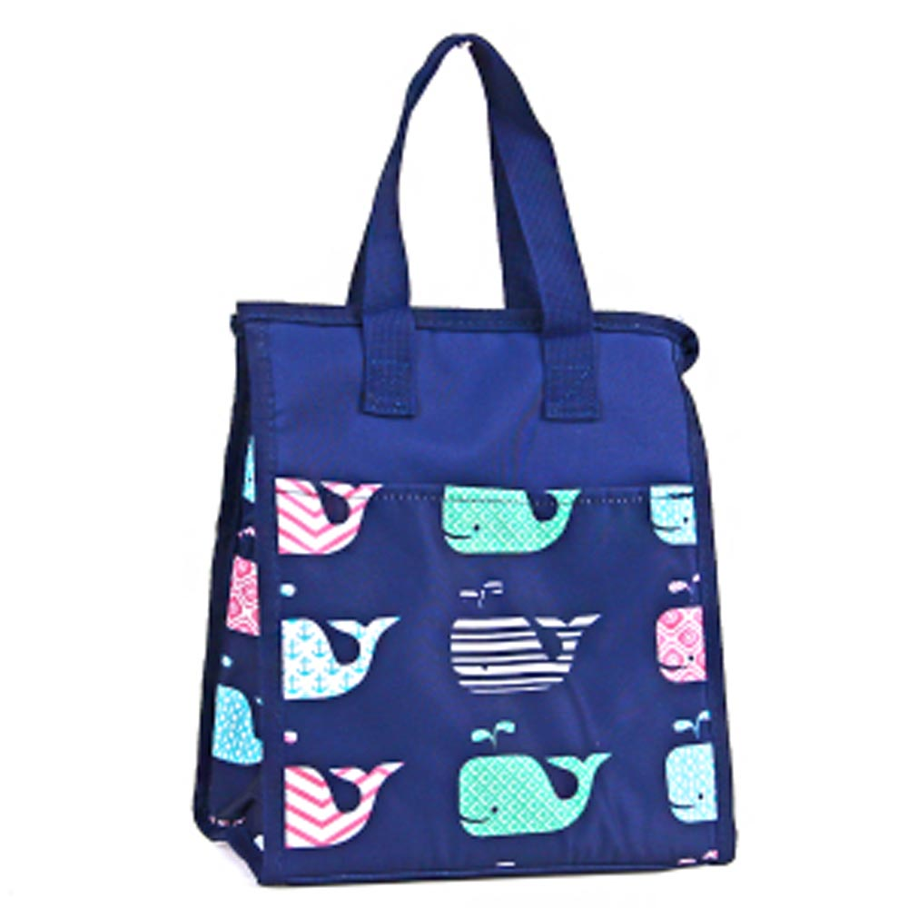blue with whales lunch bag