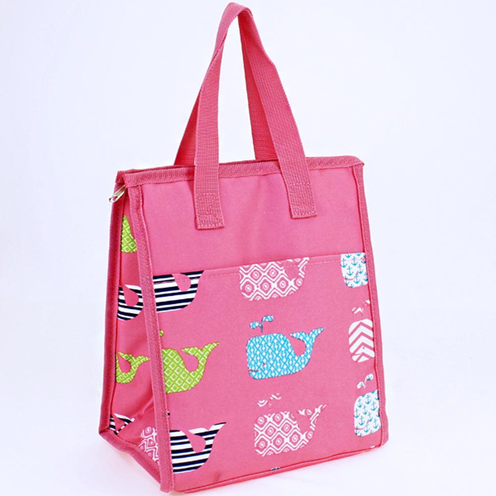 pink with whales lunch bag
