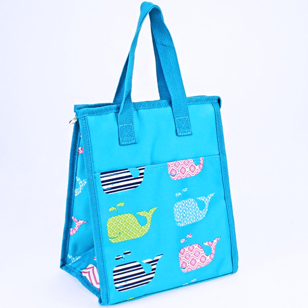 turquoise with whales lunch bag