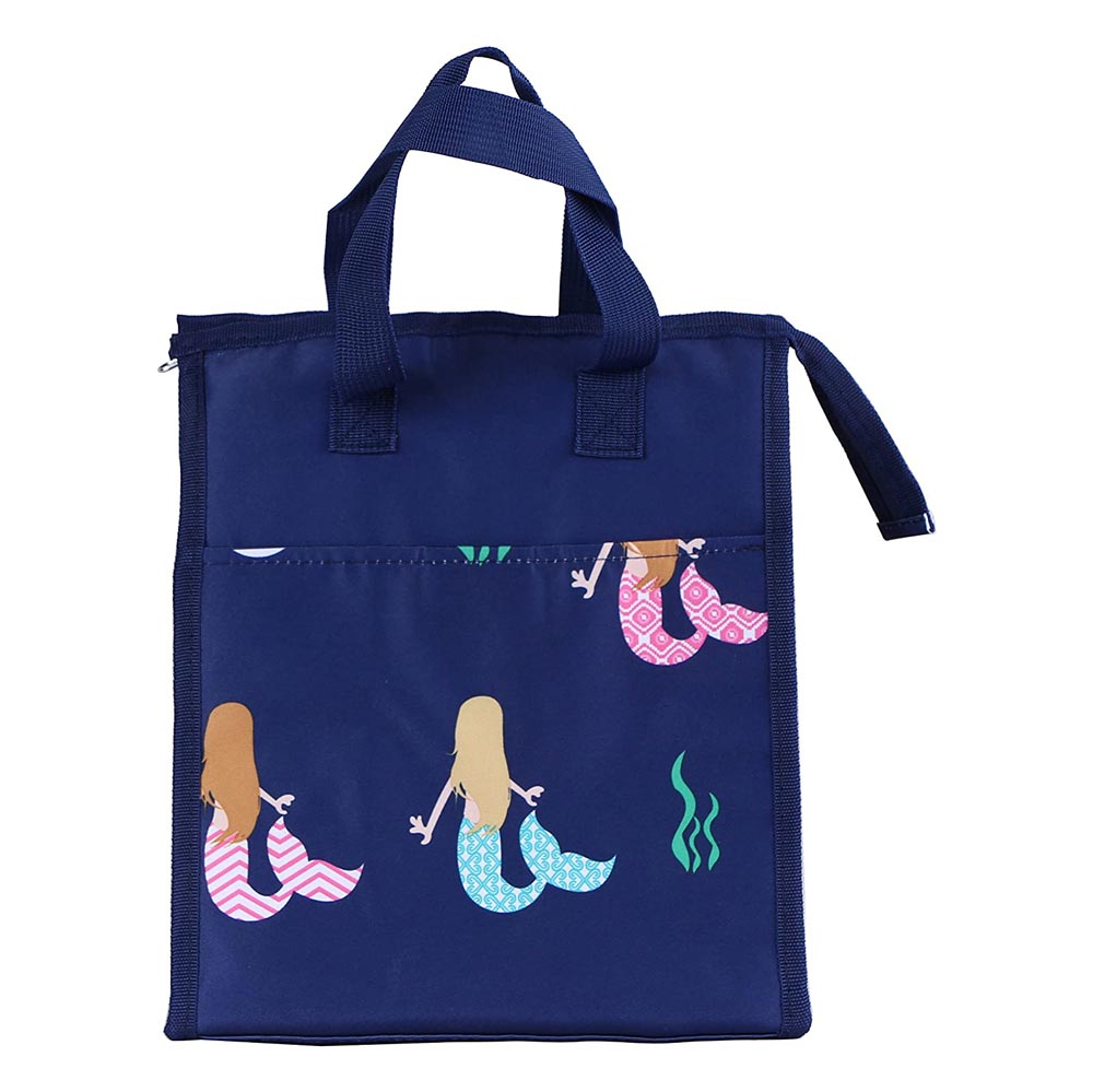 blue with mermaids lunch bag