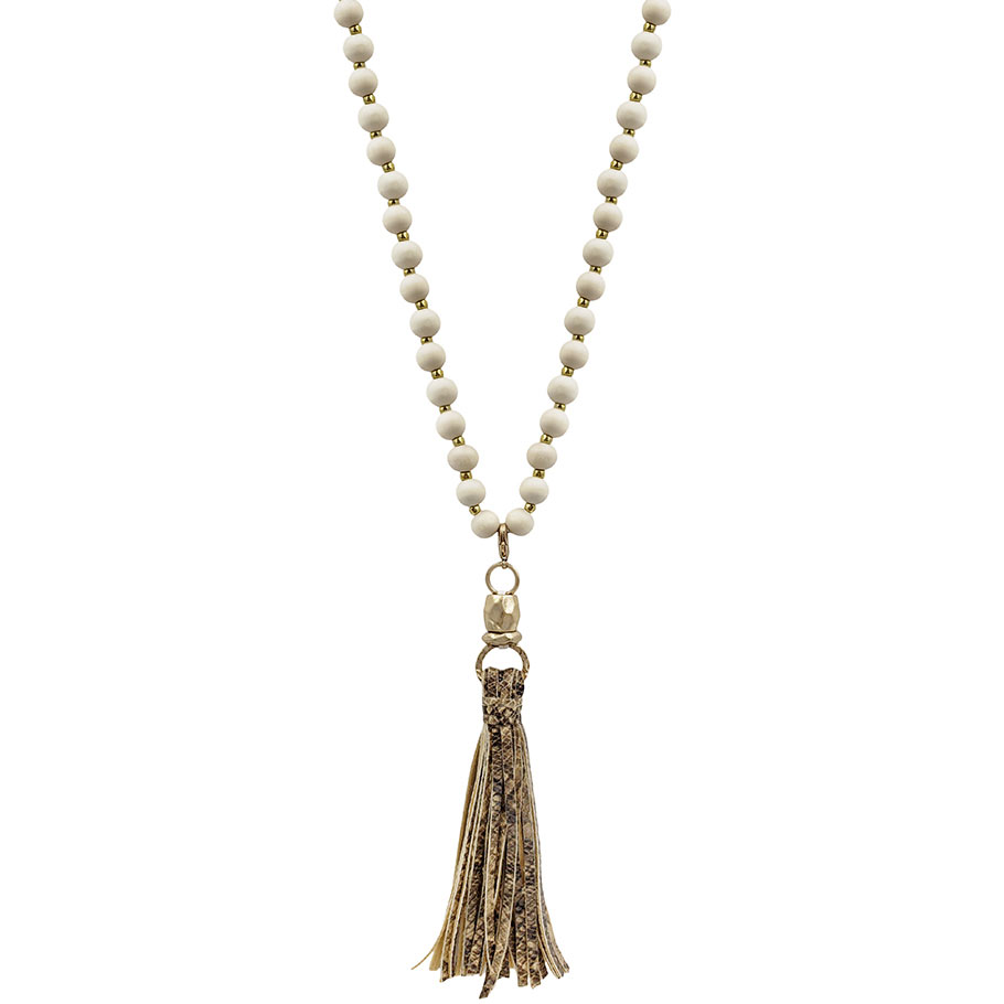 natural wood beaded necklace with snake print tassel