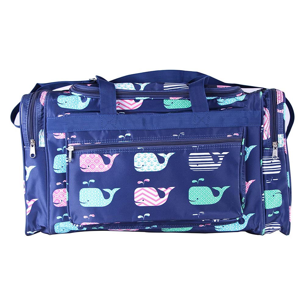 "blue with whales 22"" duffle bag"
