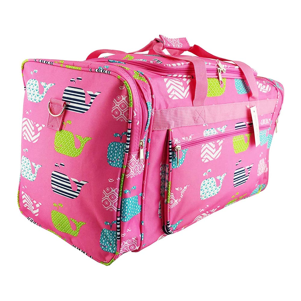 "pink with whales 22"" duffle bag"