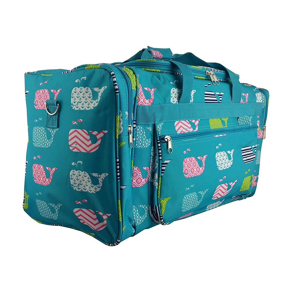 "turquoise witth whales 22"" duffle bag"