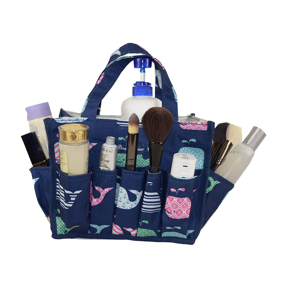 blue organizer with whales with outside pockets
