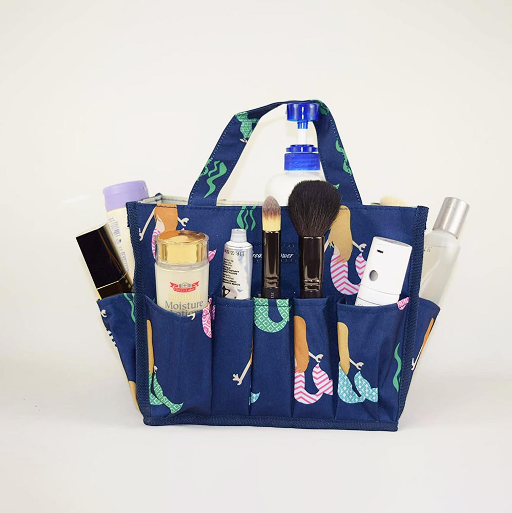 blue organizer with mermaids with outside pockets