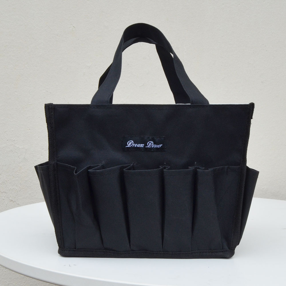 solid black organizer bag with outside pockets