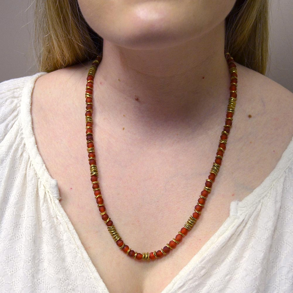red and gold small beaded necklace