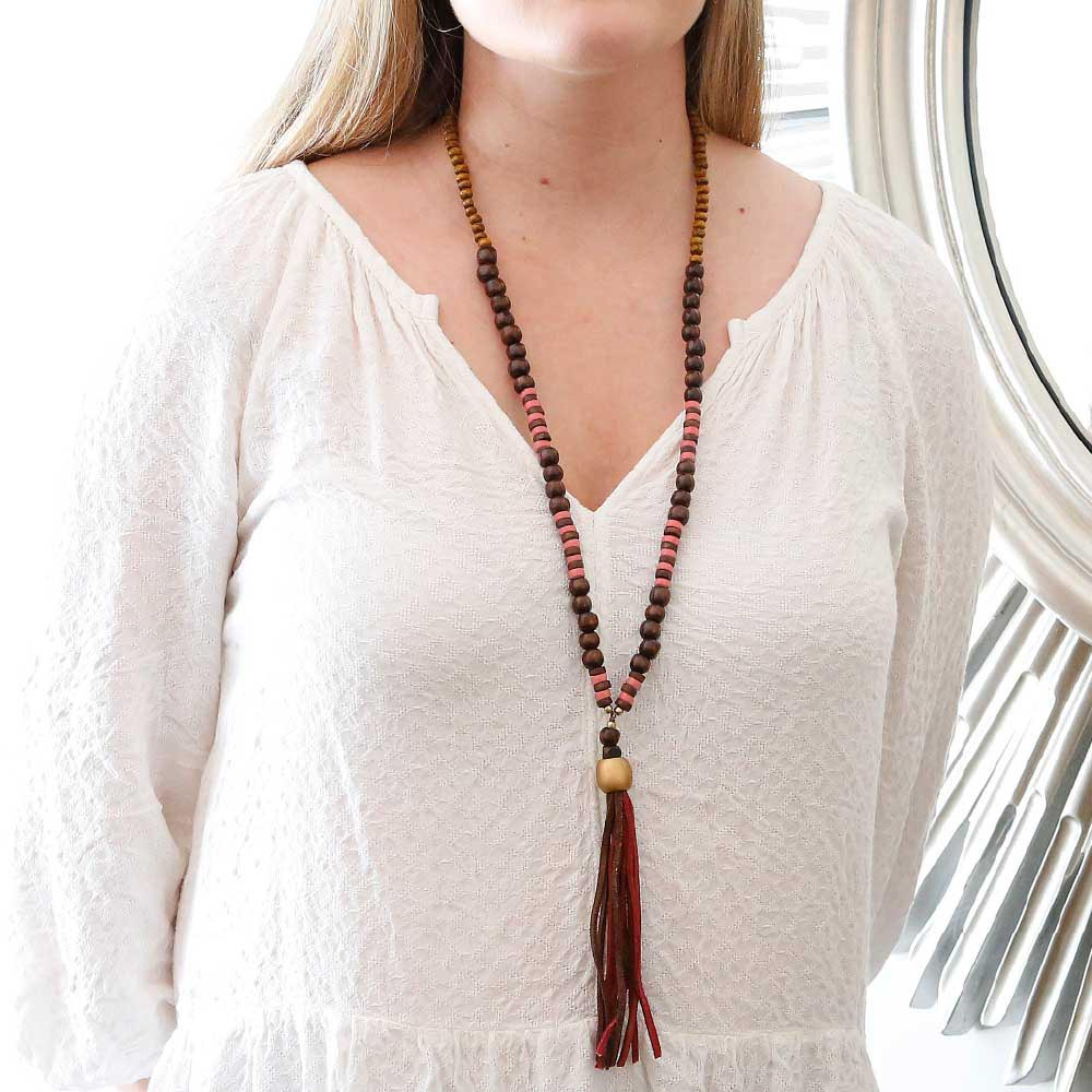 brown necklace w/red and brown tassel