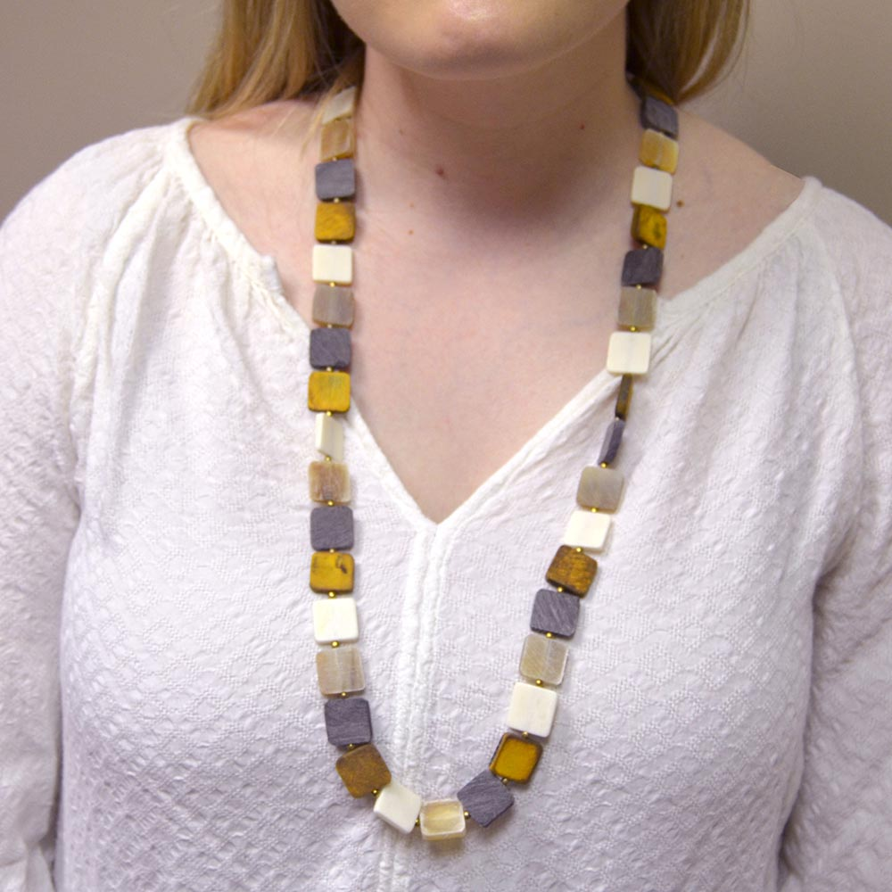 natural square beads necklace