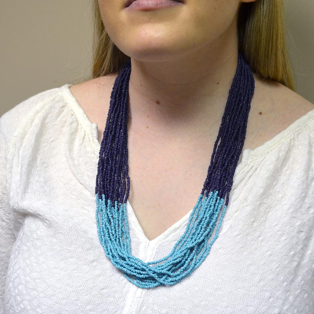 color block beaded necklace navy w/turq
