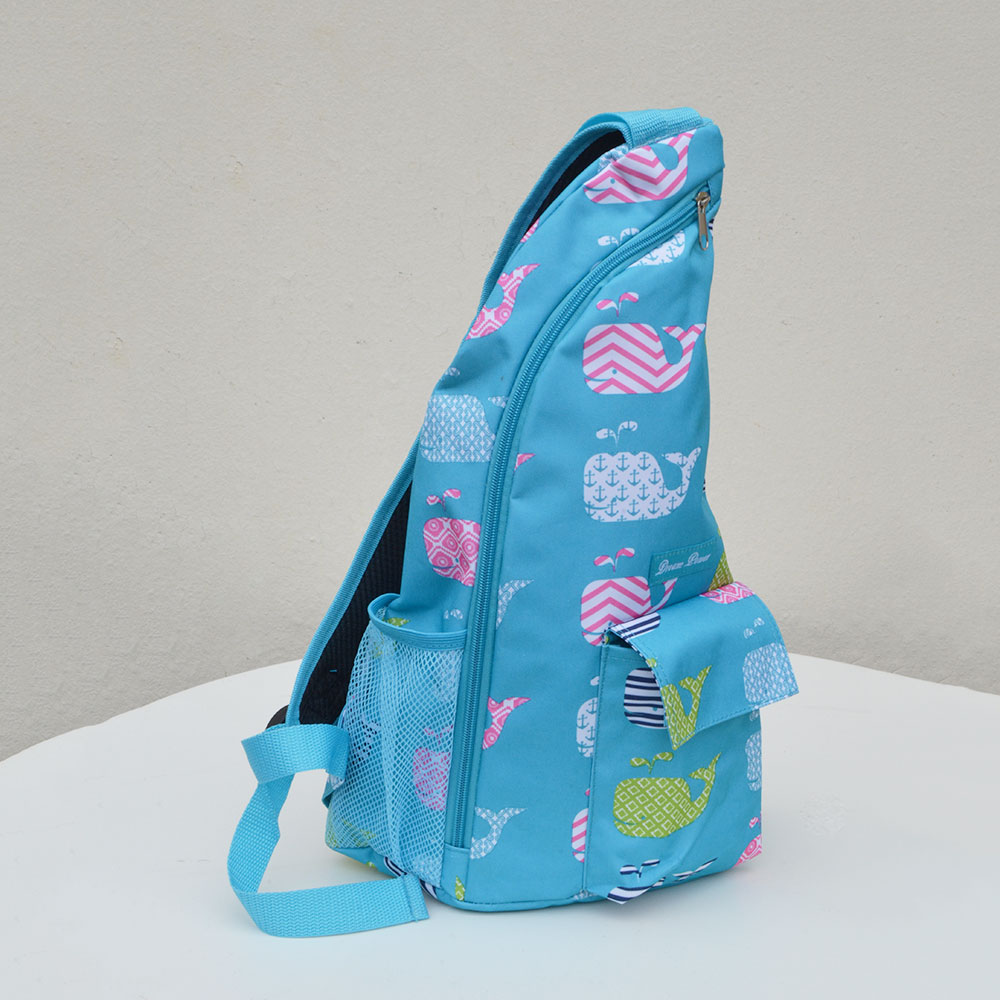 turquoise with whales one shoulder strap sling bag