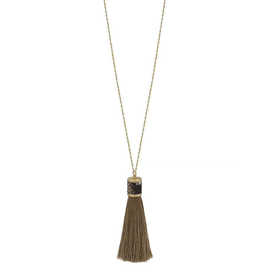 snake print leather with fabric tassel necklace
