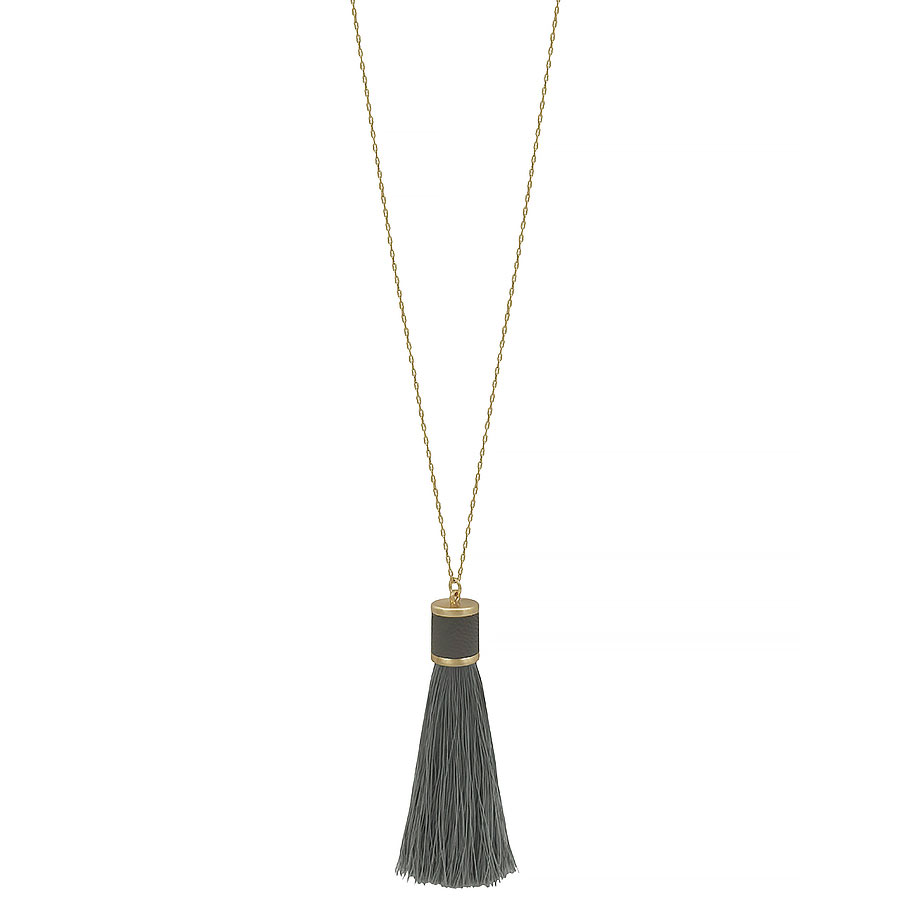 grey leather with fabric tassel necklace