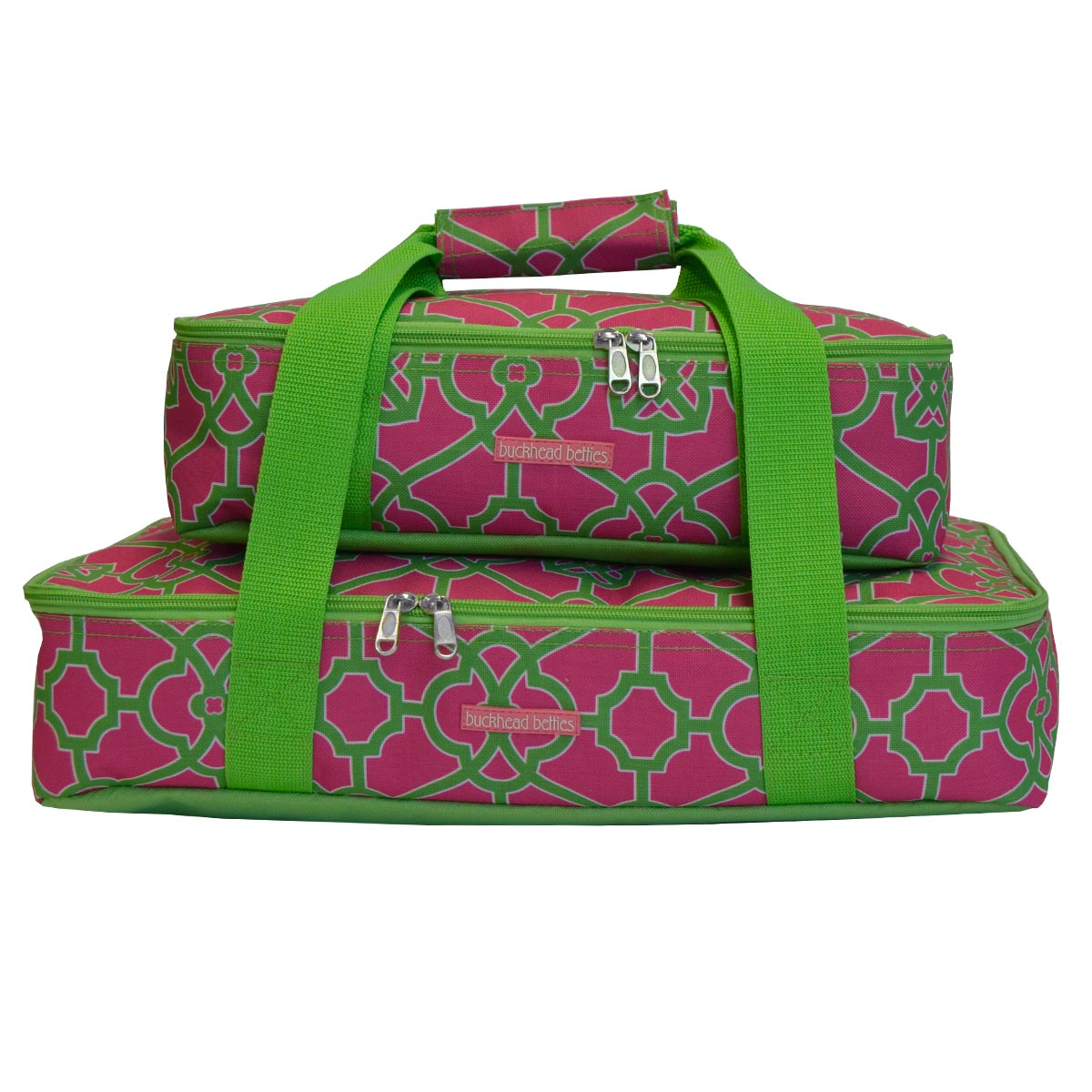 on the veranda pink/green 2 pc casserole