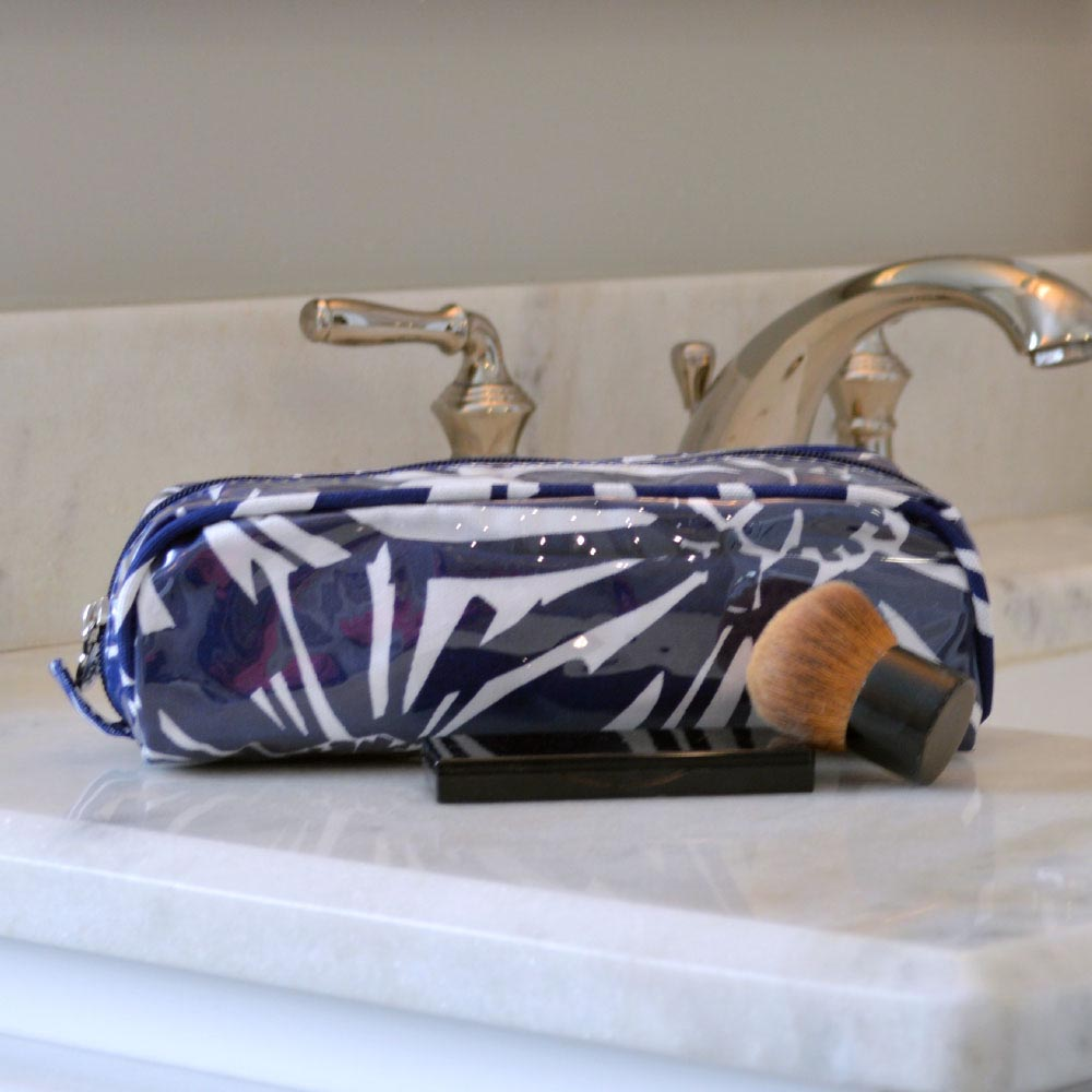 mosaic floral navy pencil and brush pouch