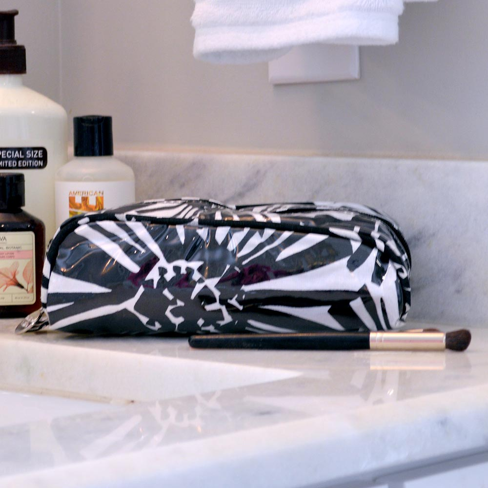 mosaic floral black pencil and brush pouch