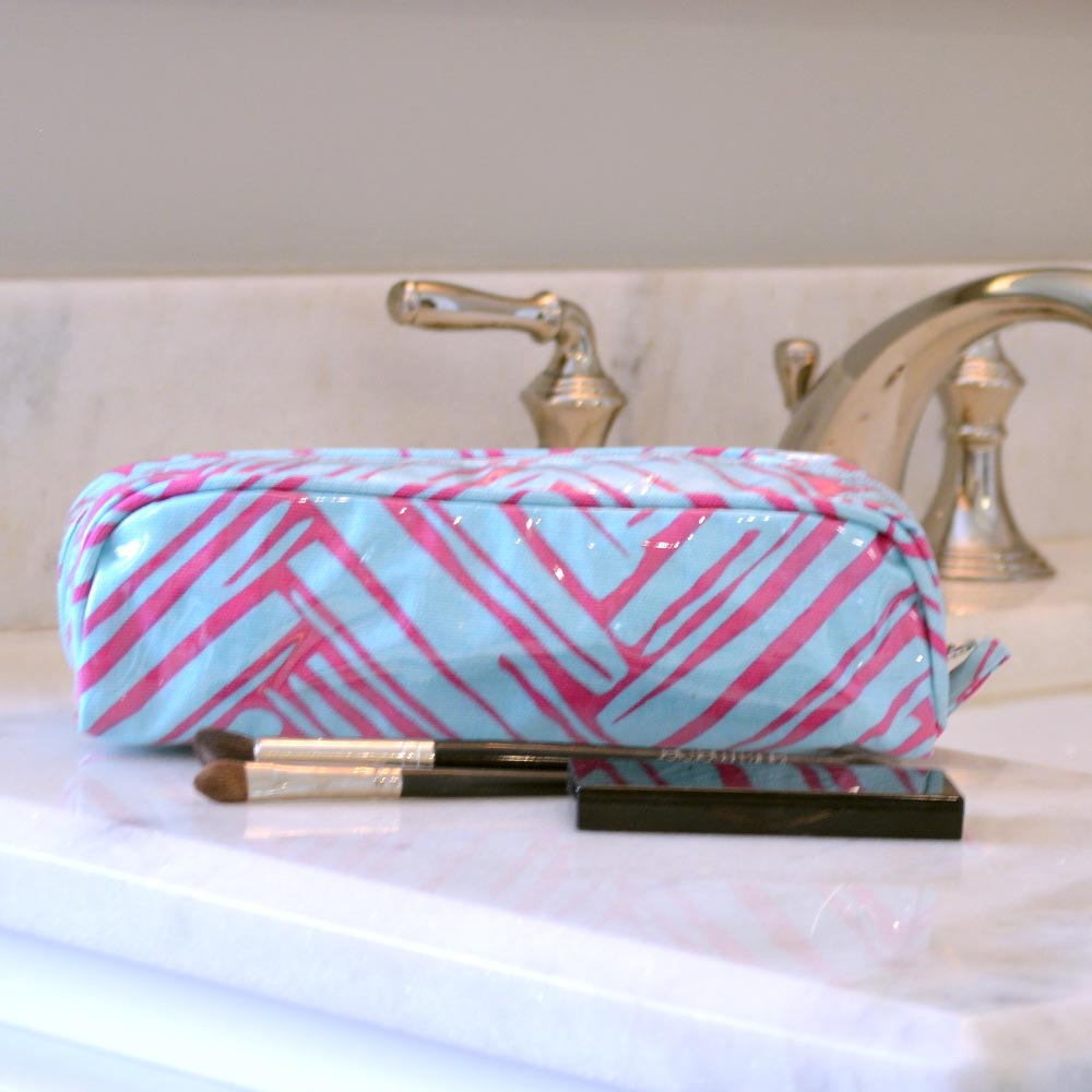 twill do pink/turq pencil case