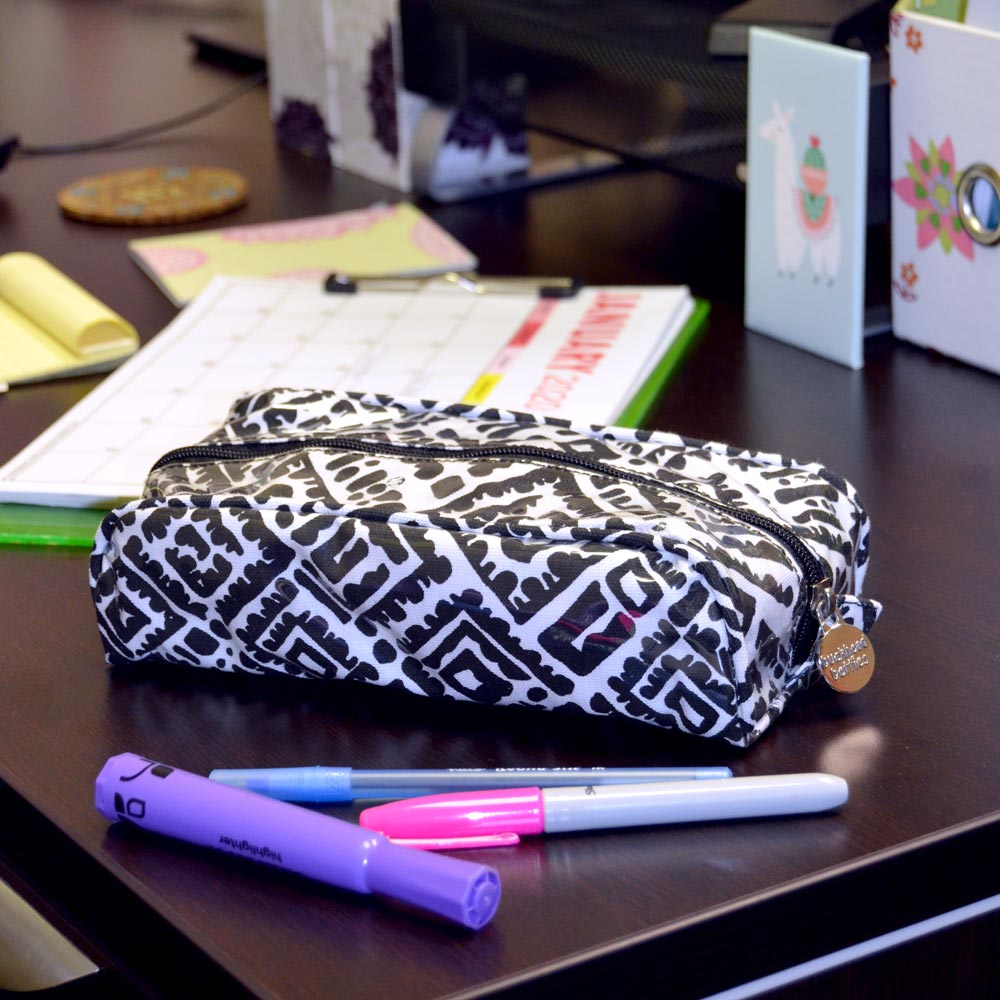 alma black and white pencil and brush pouch
