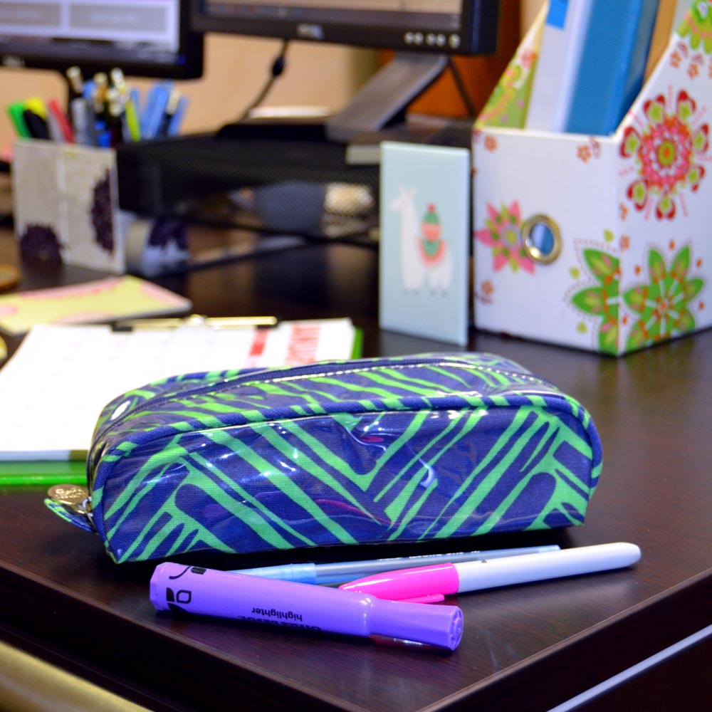 twill do navy and green pencil and brush pouch