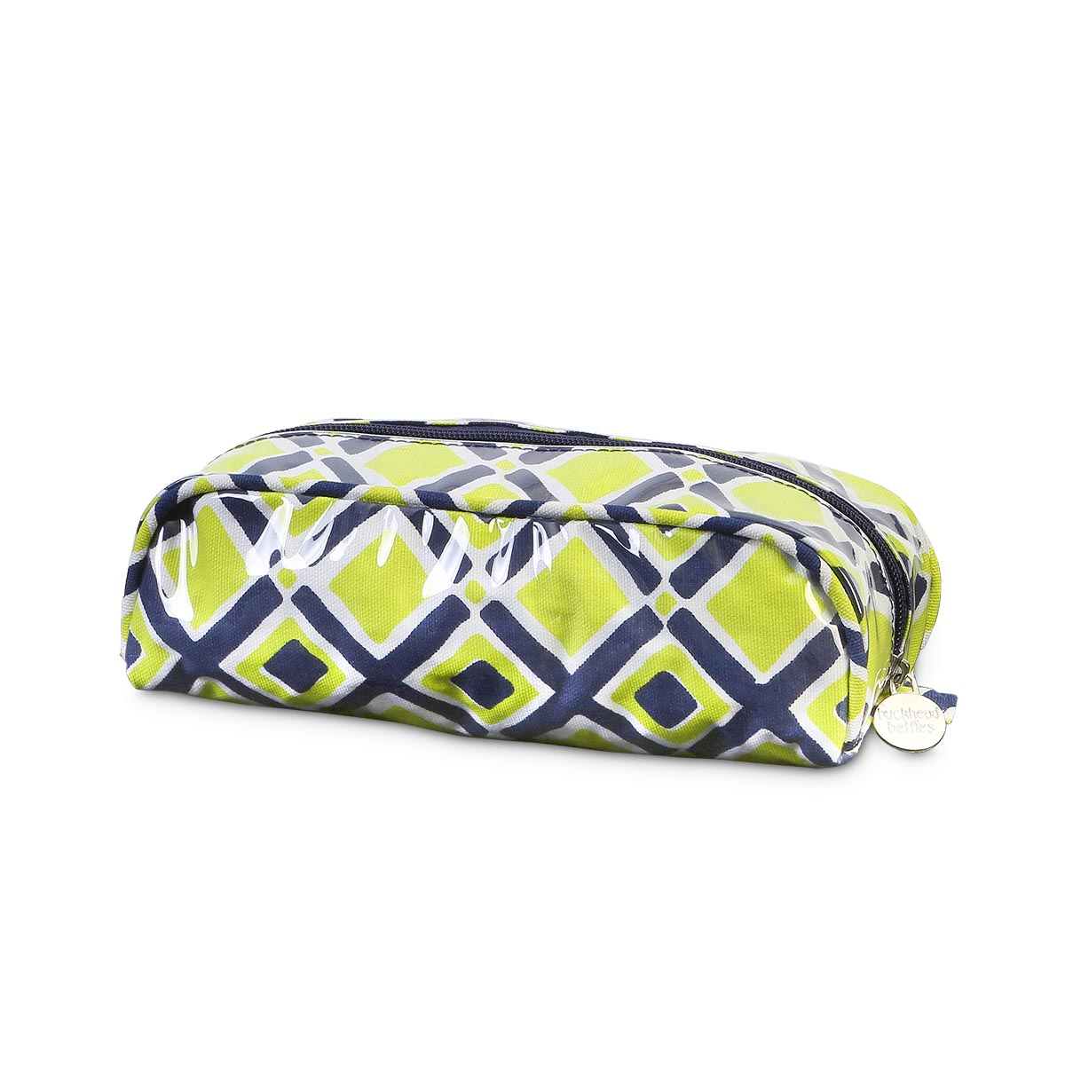 times square navy/lime pencil and brush pouch