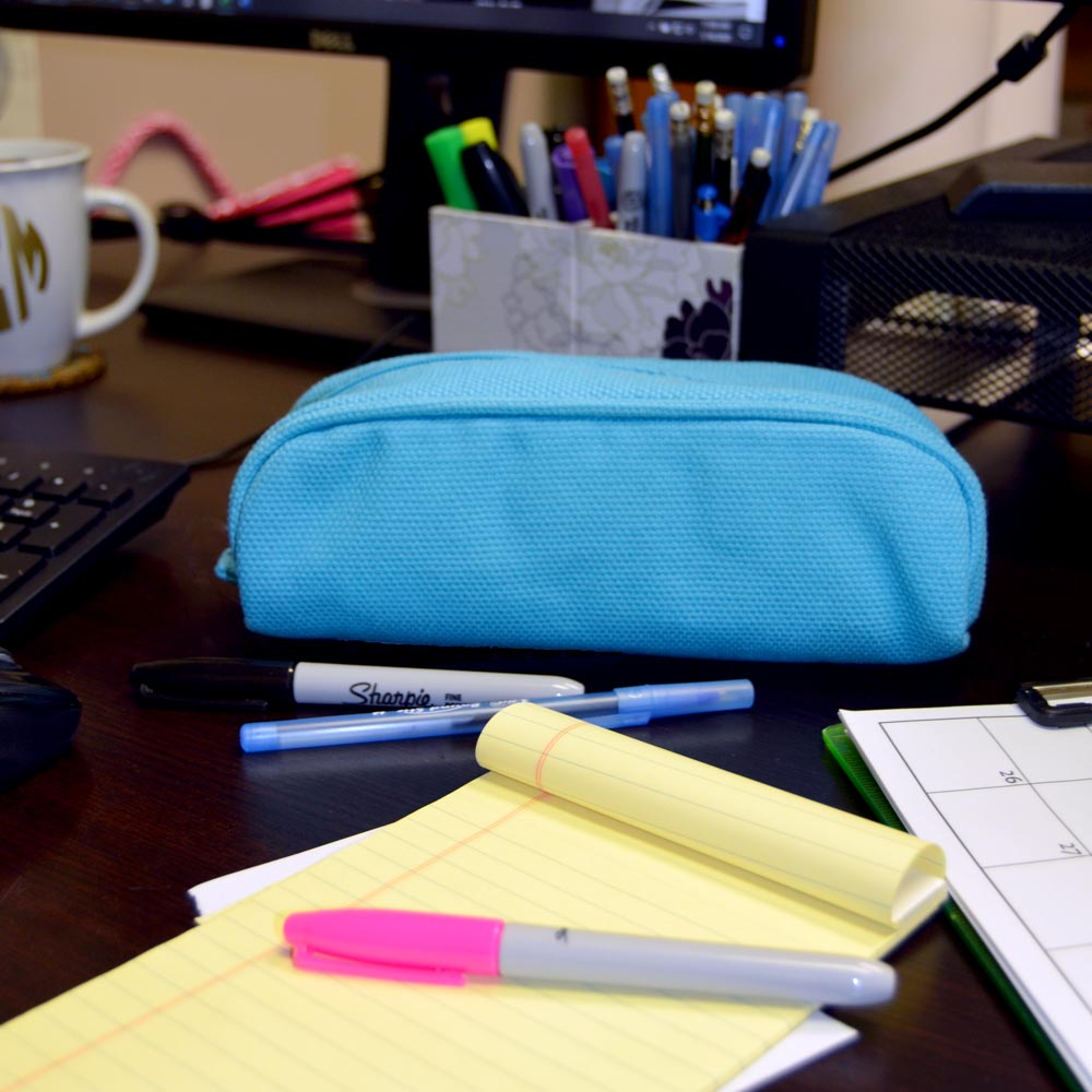 pencil and brush case durry blue