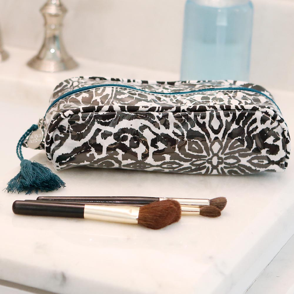 point blank black pencil and brush pouch teal trim w/tassle