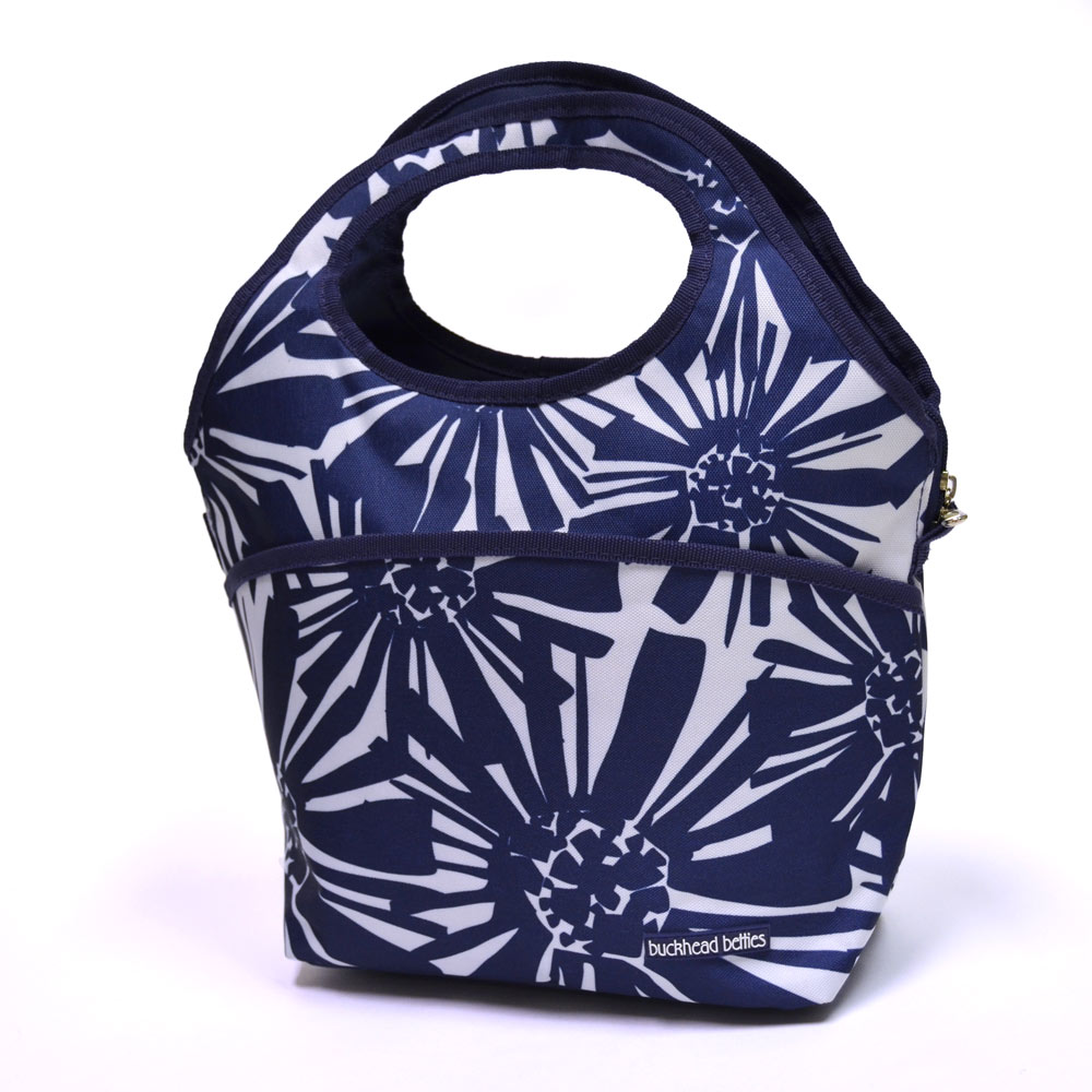 mosaic floral navy lunch cooler bag