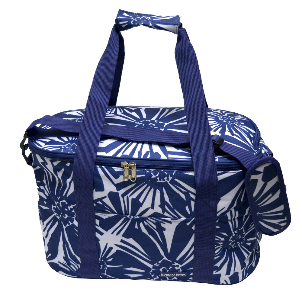 mosaic floral navy oval cooler