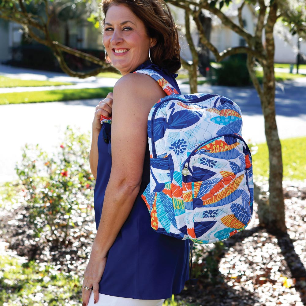 lei'd back quilted backpack
