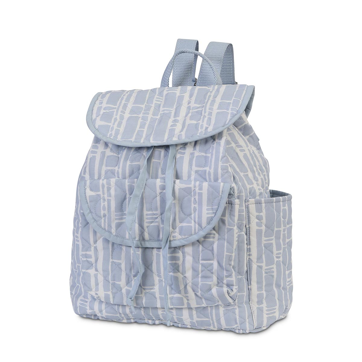 bamboo baby blue quilted backpack