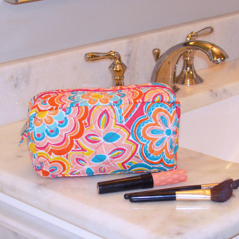 flower power quilted cosmetic