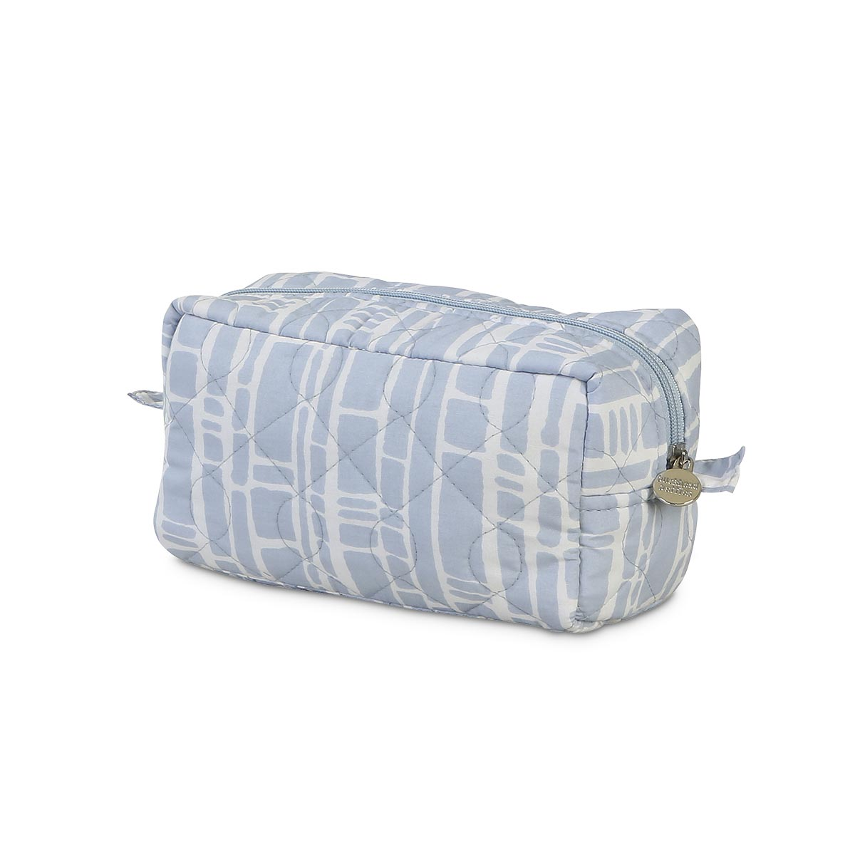 bamboo baby blue quilted cosmetic