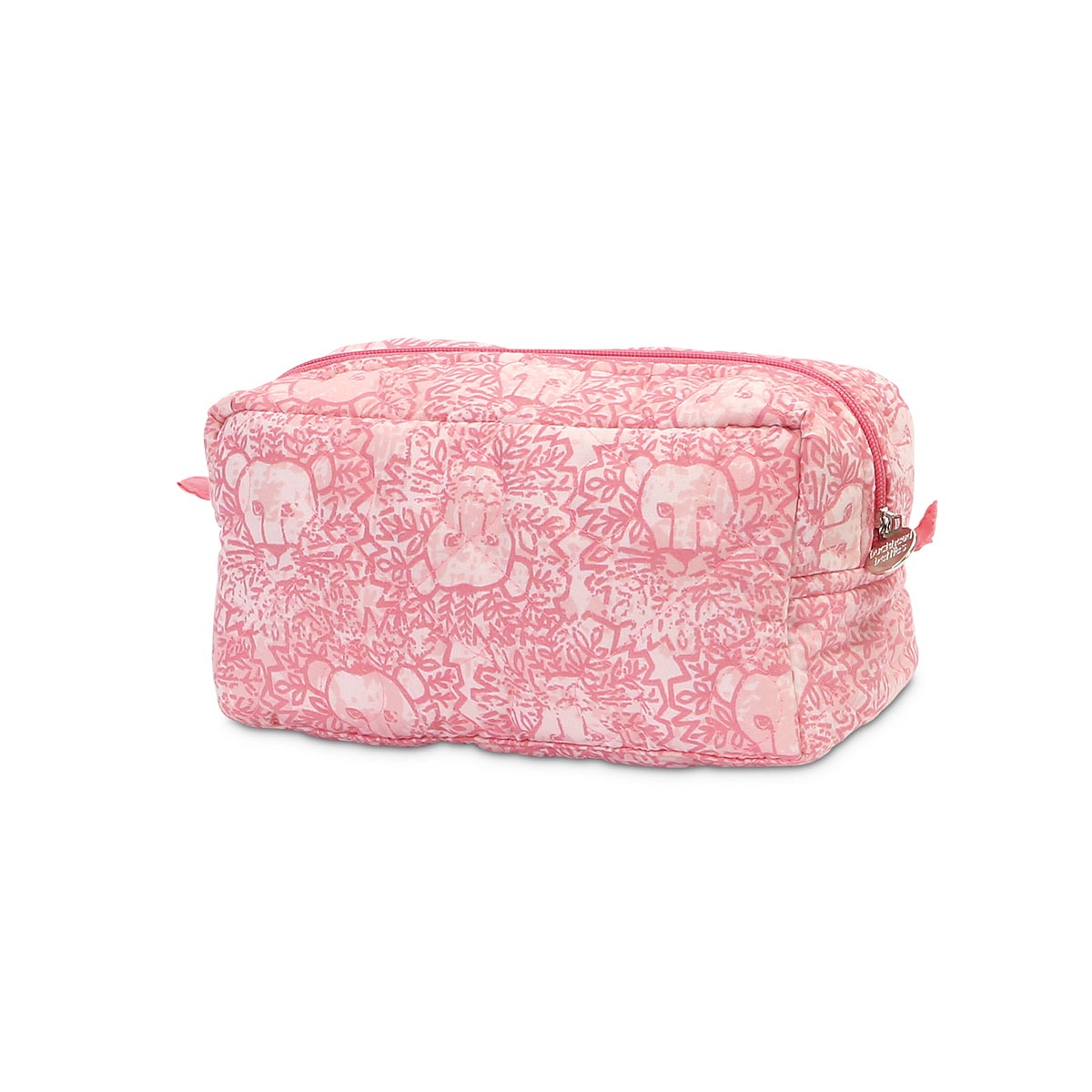 lion around pink quilted cosmetic bag