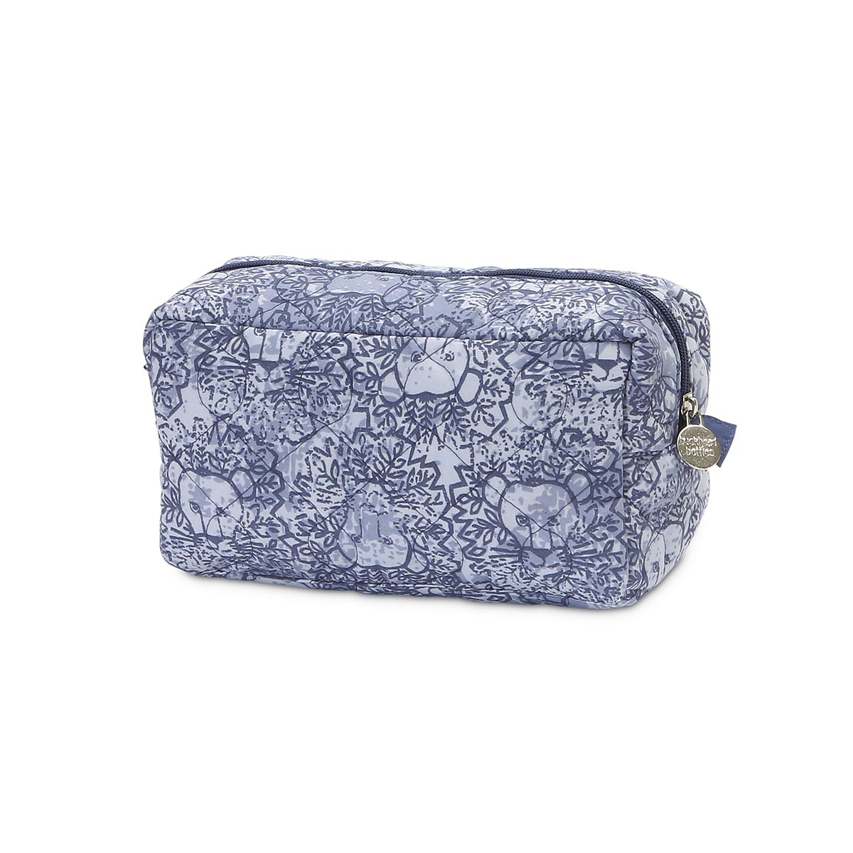 lion around blue quilted cosmetic bag