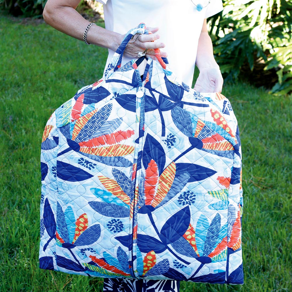 lei'd back quilted garment bag