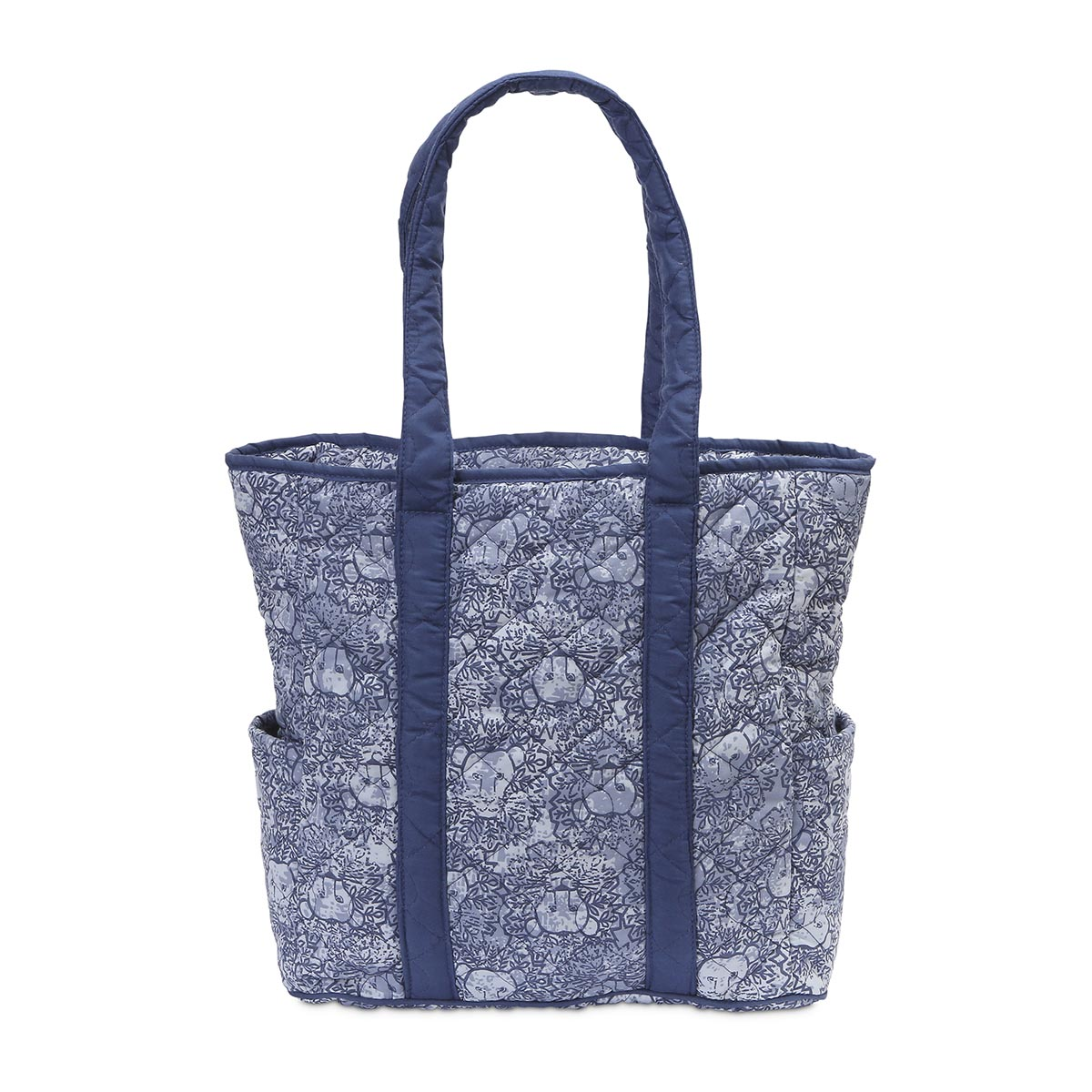 lion around blue quilted harper tote