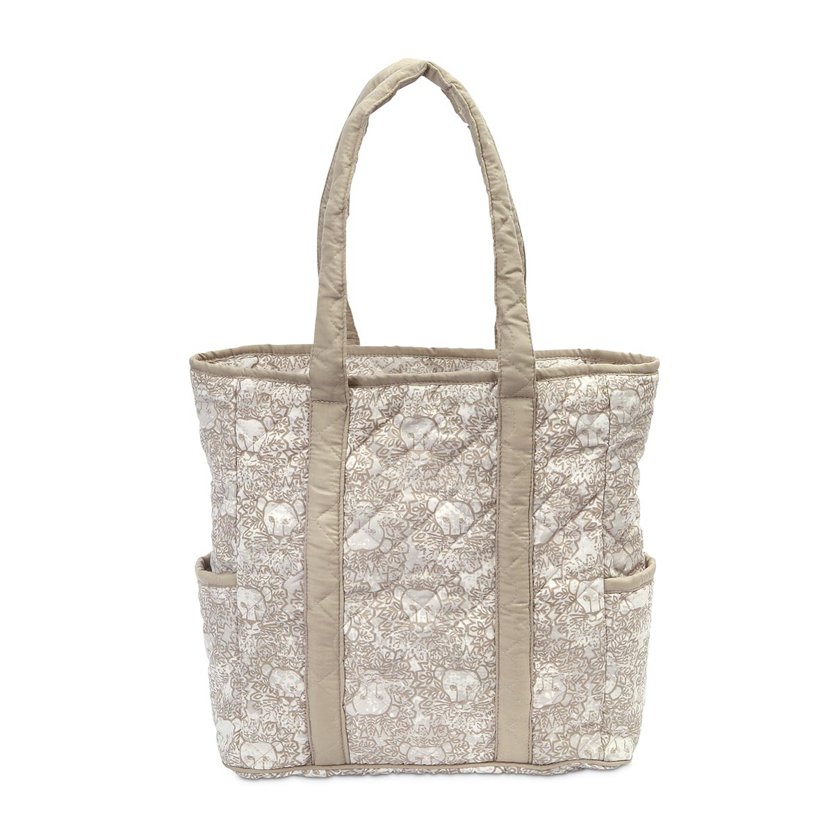 lion around khaki quilted harper tote