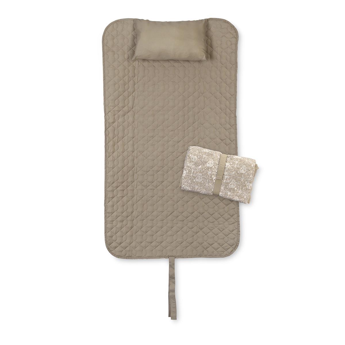 lion around khaki quilted napmat