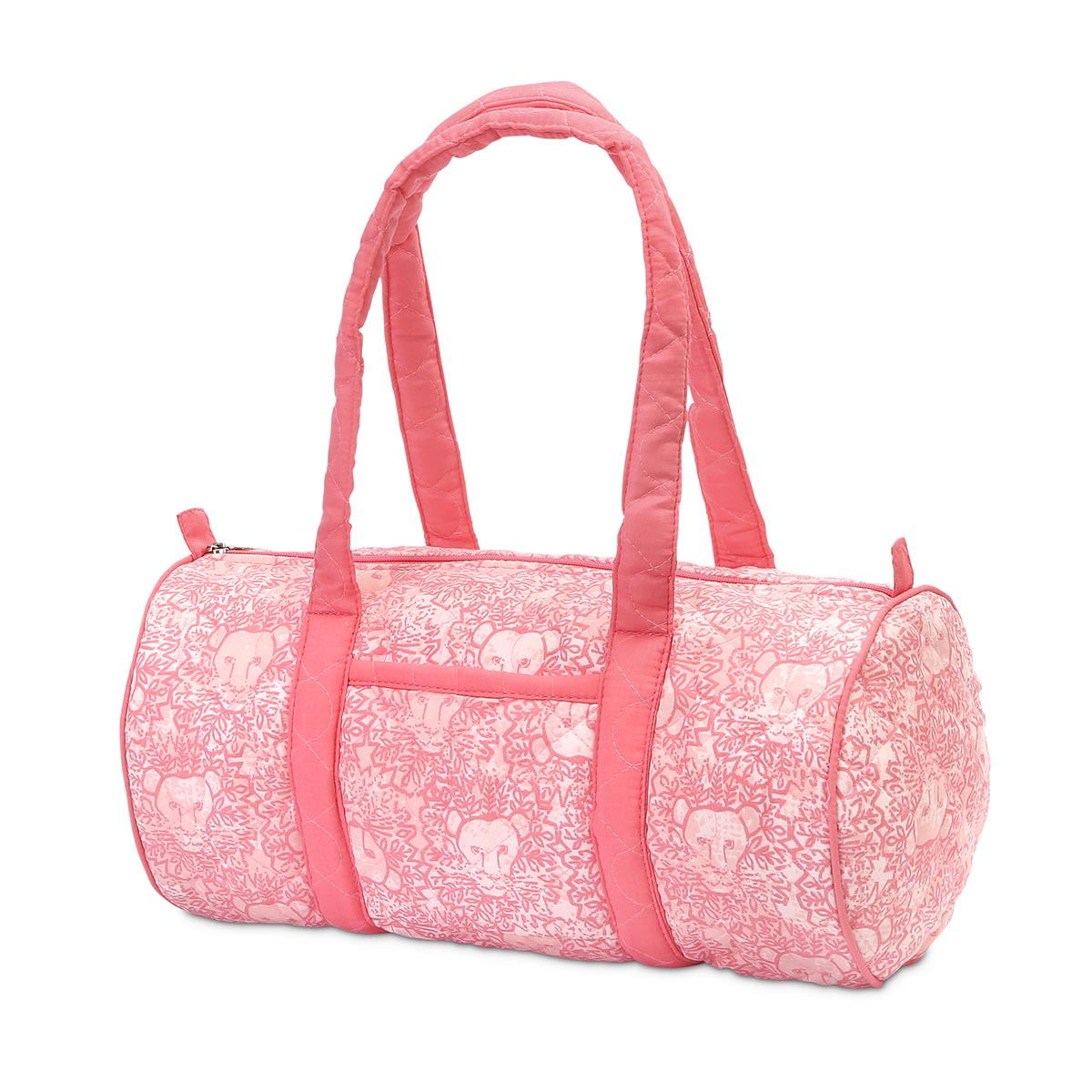lion around pink quilted small duffle