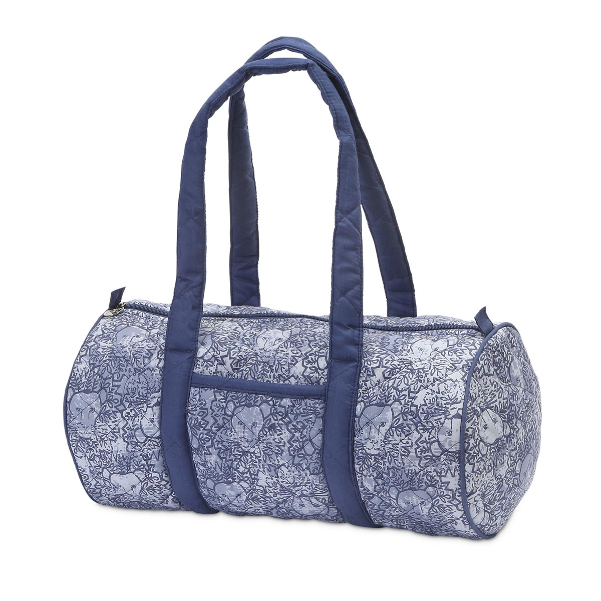 lion around blue quilted small duffle