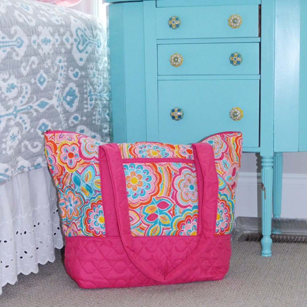 flower power quilted tote