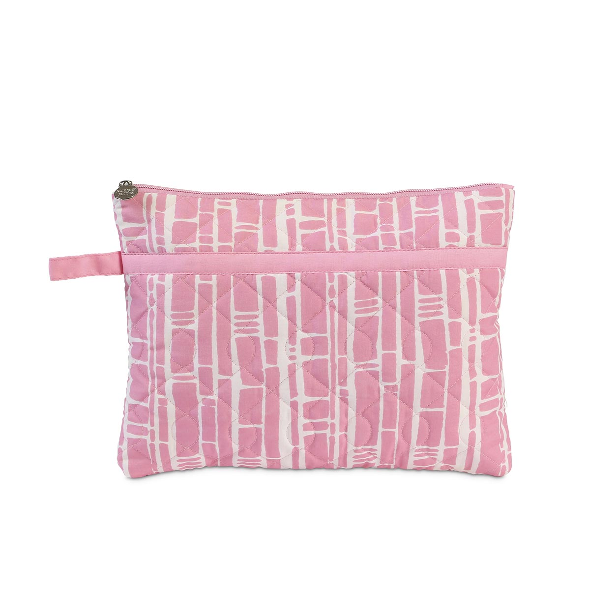 bamboo baby pink quilted zipper bag