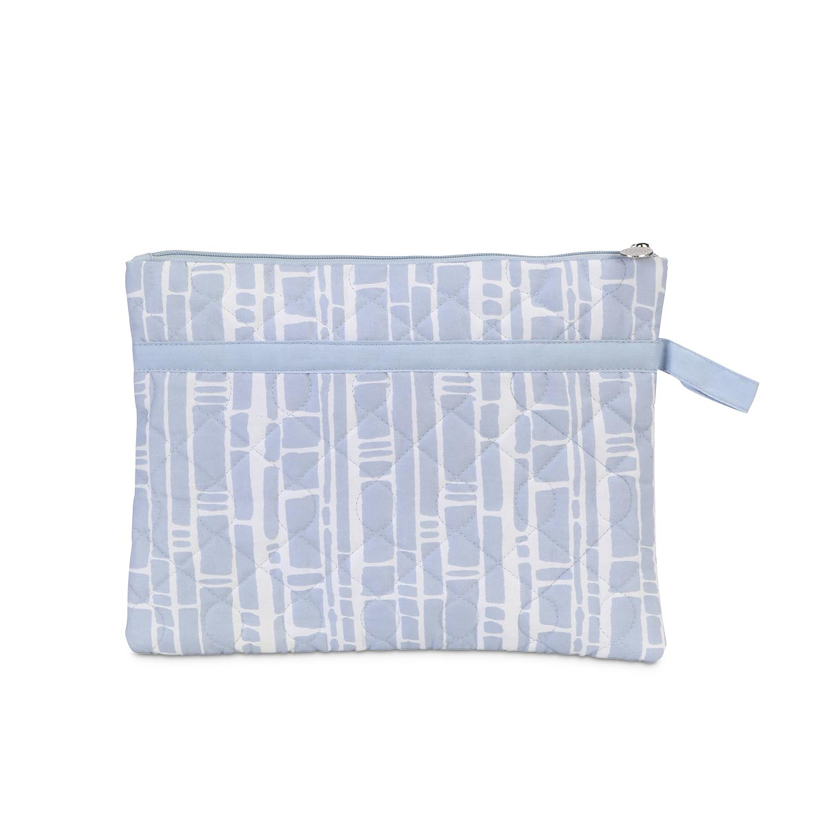 bamboo baby blue quilted zipper bag