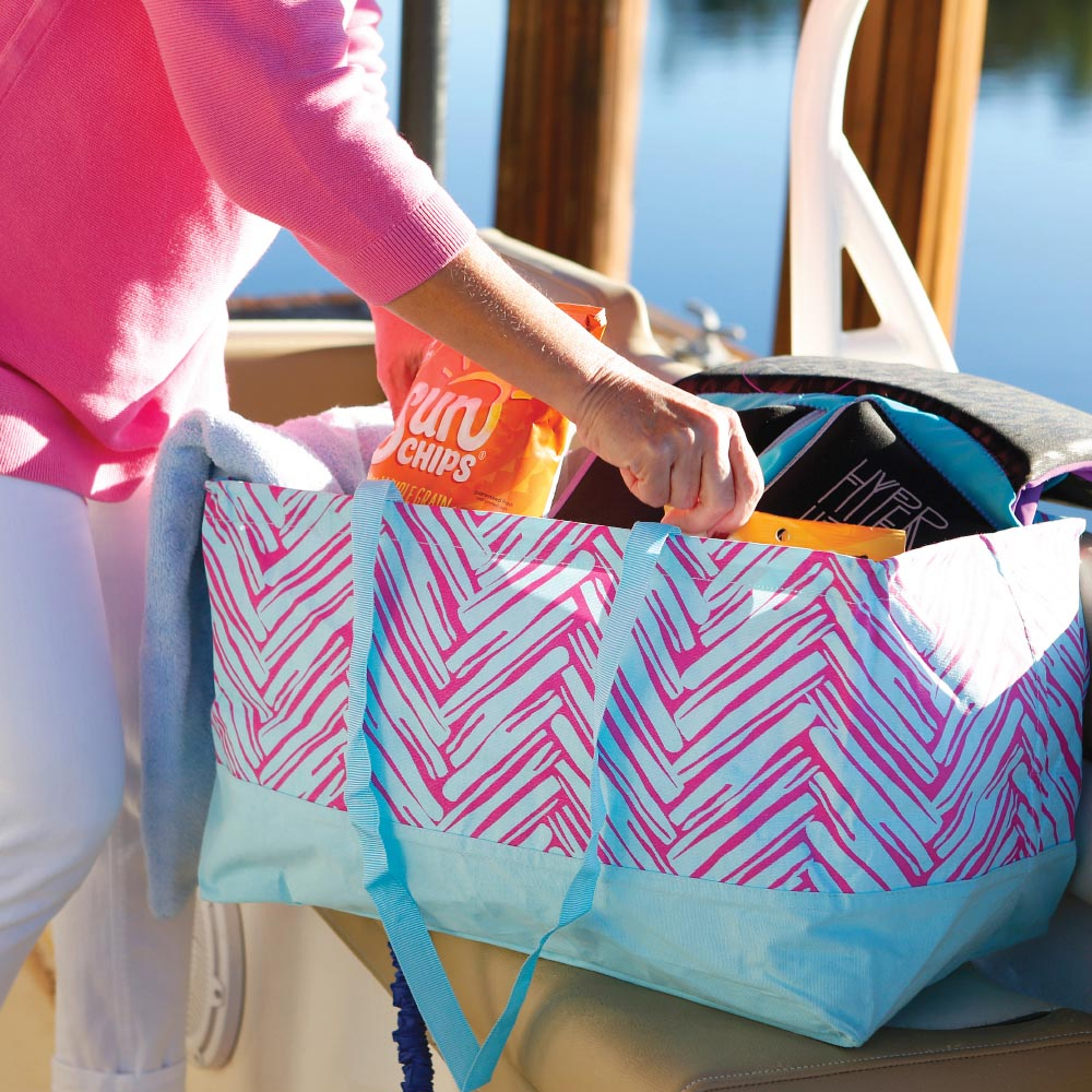 twill do pink/turq rectangle storage tote