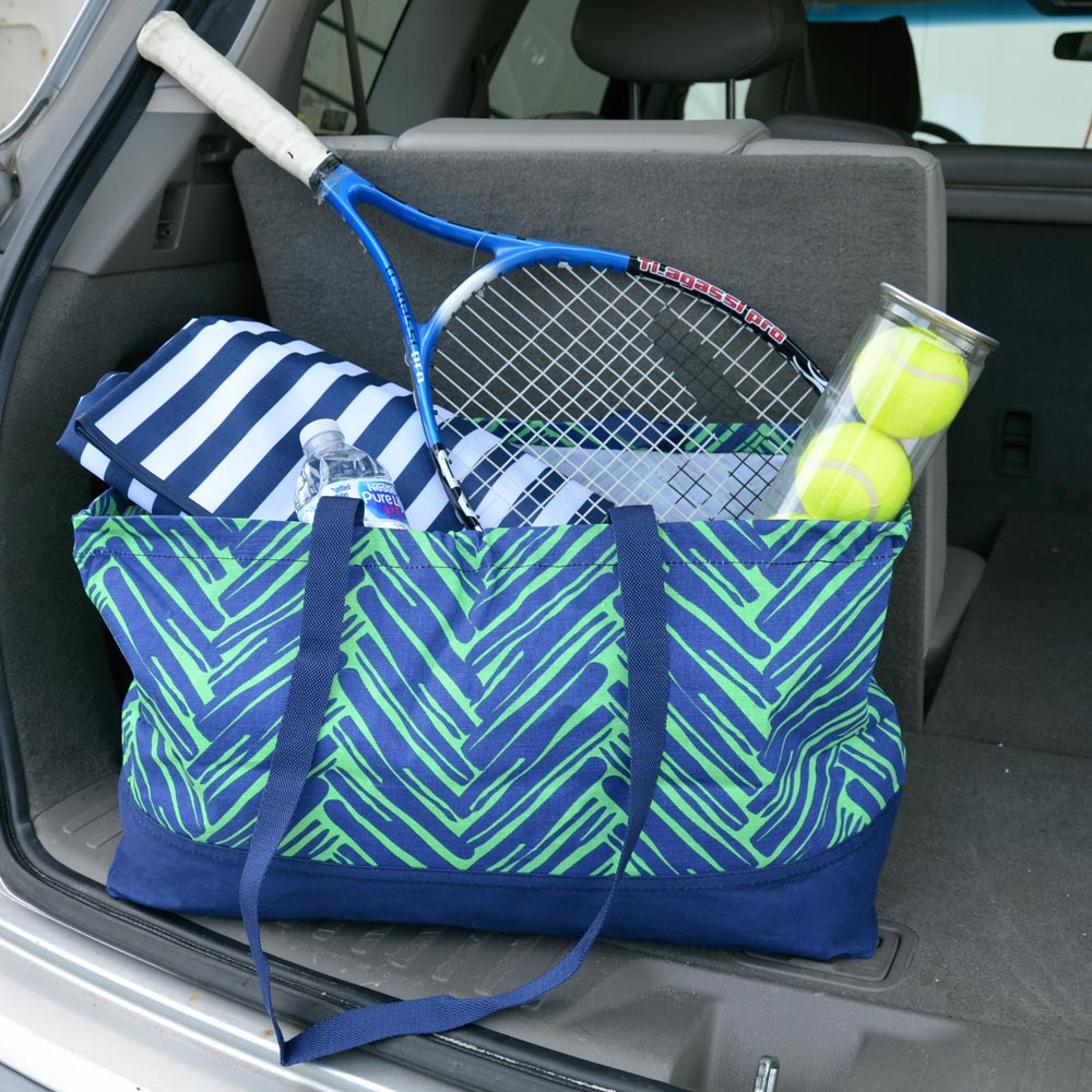 twill do navy and green rectangle storage tote