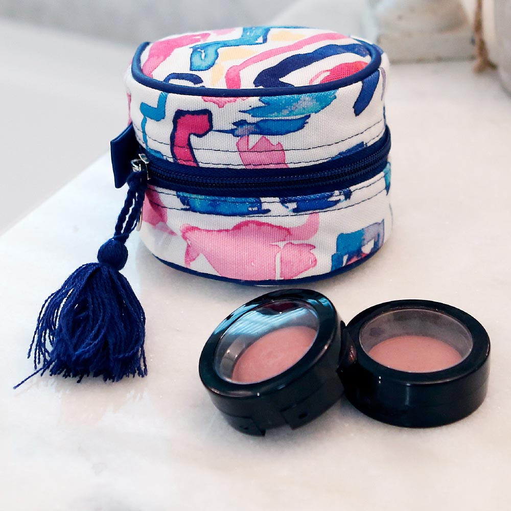 casablanca round cosmetic bag w/tassle