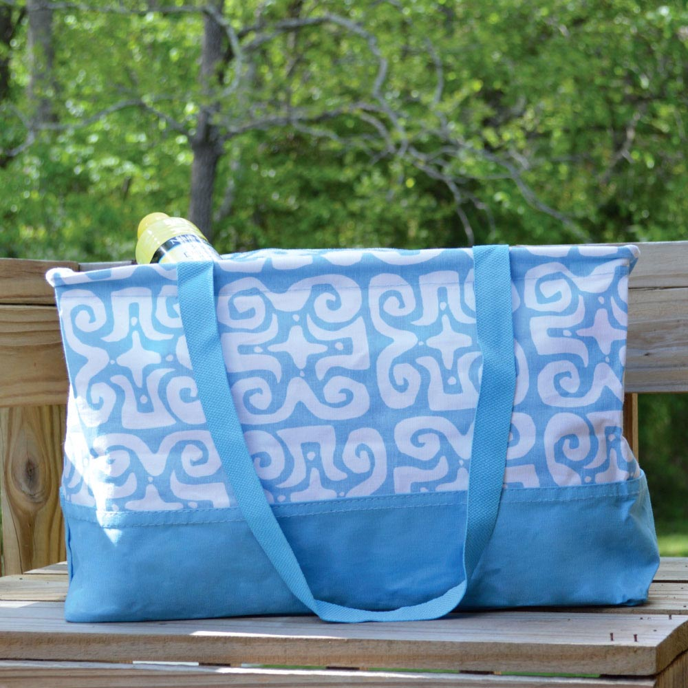 don't fret light blue rectangle storage tote petite