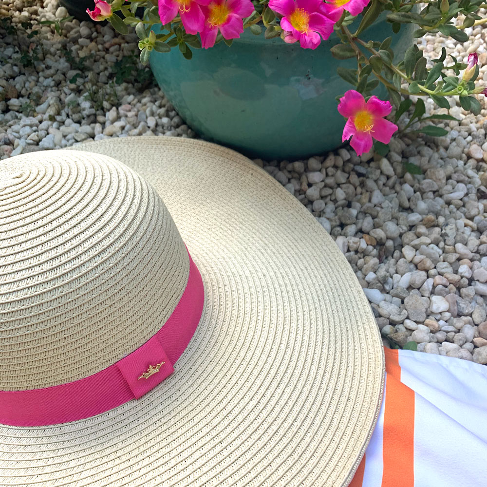 nantucket sun hat light with hot pink ribbon